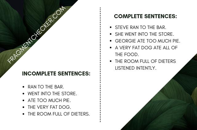 sentence fragment finder online